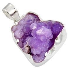 Clearance Sale- 23.48cts natural purple grape chalcedony 925 sterling silver pendant d39258