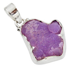 Clearance Sale- 17.22cts natural purple grape chalcedony 925 sterling silver pendant d39260