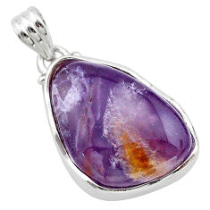 19.72cts natural purple grape chalcedony 925 sterling silver pendant t22910