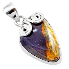14.12cts natural purple grape chalcedony 925 sterling silver pendant t22915