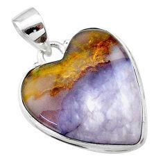 19.72cts heart purple grape chalcedony 925 sterling silver pendant t22930