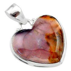 17.15cts heart purple grape chalcedony 925 sterling silver pendant t22931