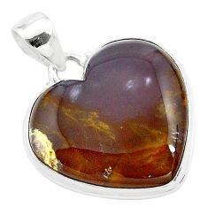 17.65cts heart purple grape chalcedony 925 sterling silver pendant t22957