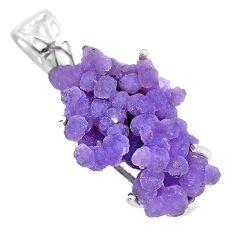 14.28cts natural purple grape chalcedony 925 sterling silver pendant t6450