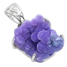 13.68cts natural purple grape chalcedony 925 sterling silver pendant t6458