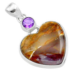 22.23cts natural purple grape chalcedony amethyst 925 silver pendant t23129
