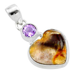 13.15cts natural purple grape chalcedony amethyst 925 silver pendant t23140