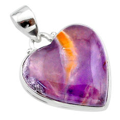 17.22cts heart purple grape chalcedony heart sterling silver pendant t22932