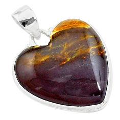 21.55cts heart purple grape chalcedony heart sterling silver pendant t22958