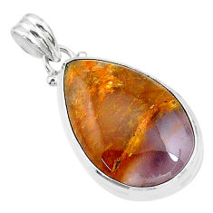 17.07cts natural purple grape chalcedony pear 925 sterling silver pendant t18547
