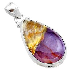 15.65cts natural purple grape chalcedony pear 925 sterling silver pendant t22916
