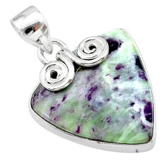 15.08cts natural purple kammererite 925 sterling silver pendant jewelry t22866