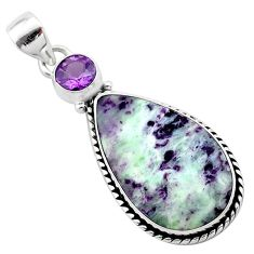 14.23cts natural purple kammererite amethyst 925 sterling silver pendant t22822
