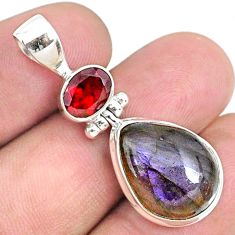 12.83cts natural purple labradorite spectrolite (finland) silver pendant r73227