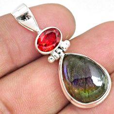 12.43cts natural purple labradorite spectrolite (finland) silver pendant r73229