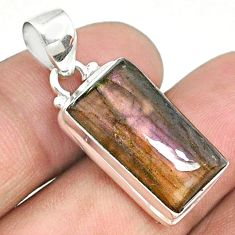 14.72cts natural purple labradorite spectrolite (finland) silver pendant r73257