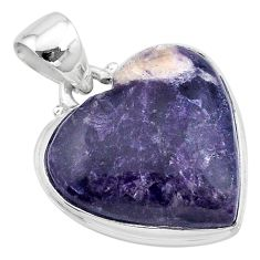 16.20cts natural purple lepidolite 925 sterling silver pendant jewelry t13266