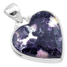 16.70cts natural purple lepidolite 925 sterling silver pendant jewelry t13271