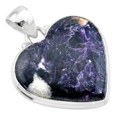 18.70cts natural purple lepidolite 925 sterling silver pendant jewelry t13279
