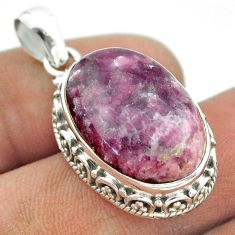 16.46cts natural purple lepidolite 925 sterling silver pendant jewelry t53281