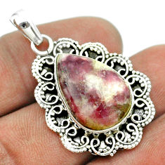 13.71cts natural purple lepidolite 925 sterling silver pendant jewelry t53288