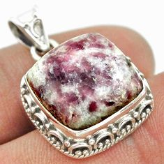 14.41cts natural purple lepidolite 925 sterling silver pendant jewelry t53290