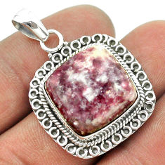 15.74cts natural purple lepidolite 925 sterling silver pendant jewelry t53291