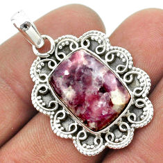 10.35cts natural purple lepidolite 925 sterling silver pendant jewelry t53297
