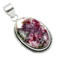 16.20cts natural purple lepidolite 925 sterling silver pendant jewelry t53741