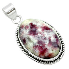 19.20cts natural purple lepidolite 925 sterling silver pendant jewelry t53744