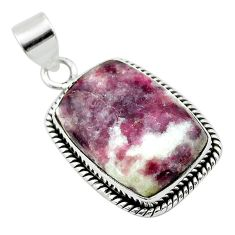 17.57cts natural purple lepidolite 925 sterling silver pendant jewelry t53746