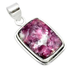 14.68cts natural purple lepidolite 925 sterling silver pendant jewelry t53753