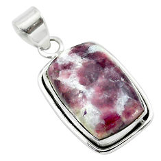 16.68cts natural purple lepidolite 925 sterling silver pendant jewelry t53756