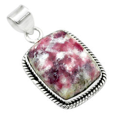 17.18cts natural purple lepidolite 925 sterling silver pendant jewelry t53758