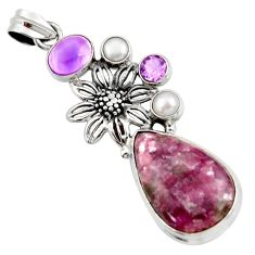Clearance Sale- 23.57cts natural purple lepidolite amethyst 925 silver flower pendant d42872