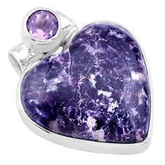16.20cts natural purple lepidolite amethyst 925 sterling silver pendant t13121