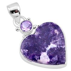 14.65cts natural purple lepidolite amethyst 925 sterling silver pendant t13122