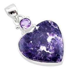 14.23cts natural purple lepidolite amethyst 925 sterling silver pendant t13136