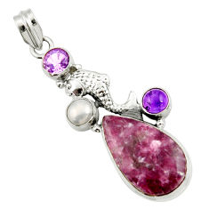 20.38cts natural purple lepidolite amethyst pearl 925 silver fish pendant d42866