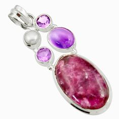 Clearance Sale- 18.63cts natural purple lepidolite amethyst pearl 925 silver pendant d42862