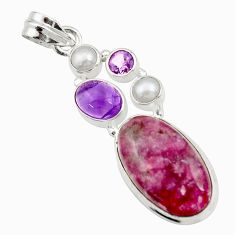 Clearance Sale- 17.67cts natural purple lepidolite amethyst pearl 925 silver pendant d42863