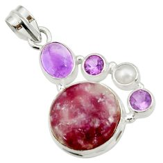 16.46cts natural purple lepidolite amethyst pearl 925 silver pendant d42868
