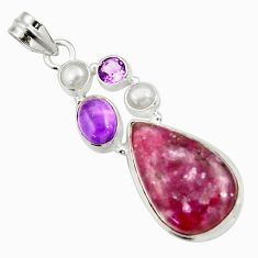 Clearance Sale- 19.00cts natural purple lepidolite amethyst pearl 925 silver pendant d42869