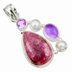 Clearance Sale- 16.65cts natural purple lepidolite amethyst pearl 925 silver pendant d42870
