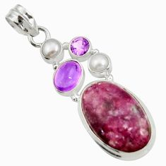 Clearance Sale- 19.00cts natural purple lepidolite amethyst pearl 925 silver pendant d42873