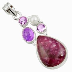 Clearance Sale- 18.45cts natural purple lepidolite amethyst pearl 925 silver pendant d42874
