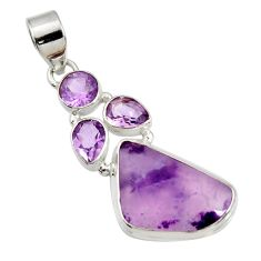Clearance Sale- 14.40cts natural purple opal amethyst 925 sterling silver pendant jewelry d44107