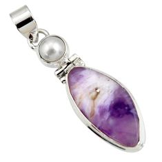Clearance Sale- 16.18cts natural purple opal pearl 925 sterling silver pendant jewelry d44122
