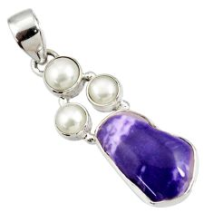 Clearance Sale- 13.70cts natural purple opal white pearl 925 sterling silver pendant d44106