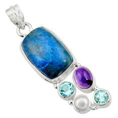 17.64cts natural purple phosphosiderite (hope stone) 925 silver pendant d43885
